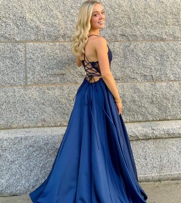 Elegant A Line Blue Long V Neck  Evening Dresse Cheap_3
