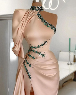 Asymmetrical High Neck Sexy Slit Prom Dress_2