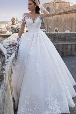 Chic A Line Lace Appliques Long Sleeves wedding dresses_1