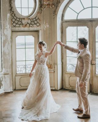 Simple Princess lace Boho wedding dresses cheap_8