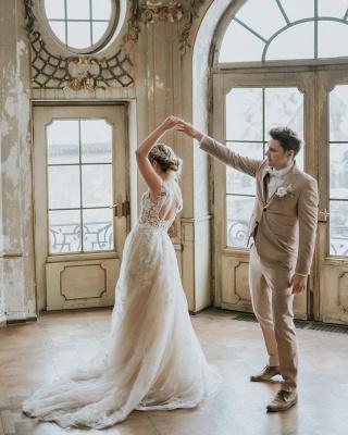 Simple Princess lace Boho wedding dresses cheap_6