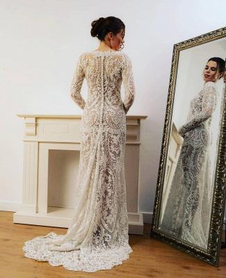 Sheath Lace Long Sleeves Wedding Dress Online_2