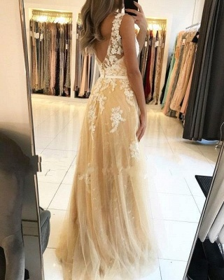 A Line Lace Tulle V Neck Yellow Prom Dresses Sleeveless_2