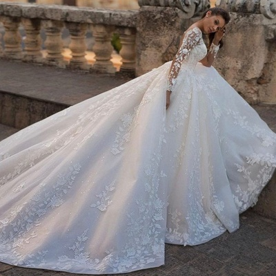 Chic A Line Lace Appliques Long Sleeves wedding dresses_3