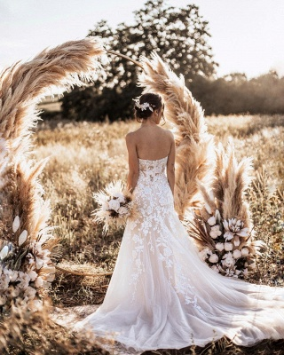 Simple Strapless Sweetheart Tulle Lace Wedding Dress_2