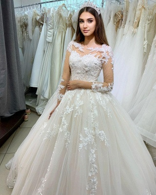 Princess Long Sleeves Tulle Wedding Dress with Appliques_2