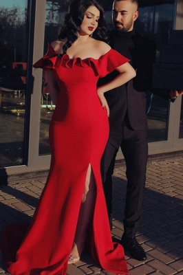 Off the Shoulder Red Prom Dresses Cheap Evening dresses long_1
