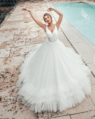 A line Lace Tulle Sleeveless V Neck Wedding dresses_2