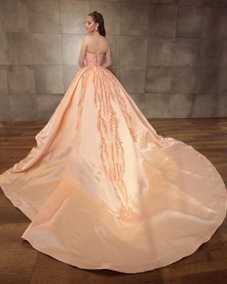 Ball Gown Strapless Satin Sleeveless Beadings Prom Dress_2