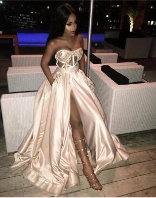 Sexy Strapless Satin Lace Slit Prom Dress_2