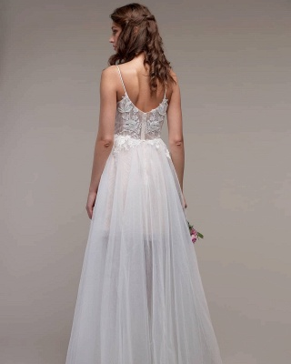 Simple Spaghetti Straps Tulle Lace Wedding Dress_2