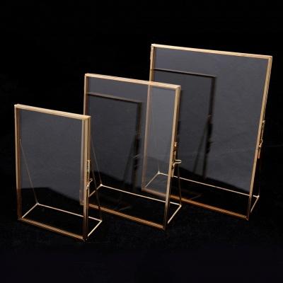Simple Antique Gold Rectangle Glass Photo Frame Folding Desktop Picture Brass Frames for Portraits and Landscape Home Decoration_2