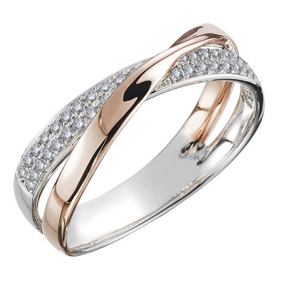 Newest Fresh Two Tone X Shape Cross Ring for Women Wedding Trendy Jewelry Dazzling CZ Stone Large Modern Rings_1
