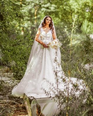A Line V neck Lace White Wedding Dresses_2