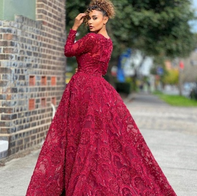 Luxury Jewel Long Sleeves Burgundy Tulle Lace Prom Dress with Beadings_2