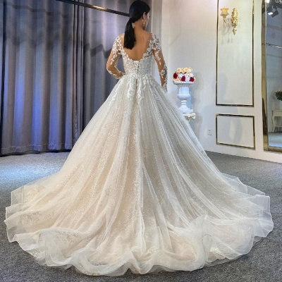Ball Gown Long Sleeves Tulle Lace Wedding Dress_3
