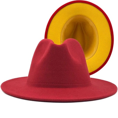 Two Tones Hats High Quality Wool Felt Fedora Hat For Men & Women Church Fedoras_2