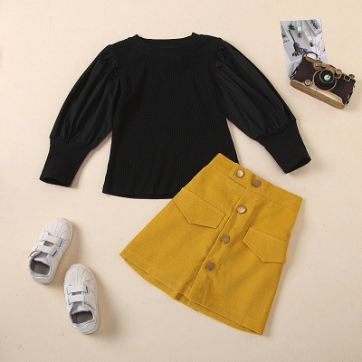 Girls Spring 2 Pcs Skirt Dress Outfit Set Kid Girl Clothes Long Sleeve Bubble Sleeve Tops & Button Skirt Fashion Clothing Set_4