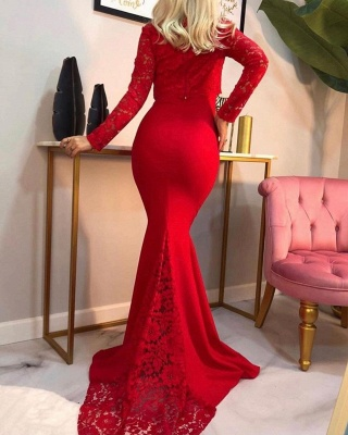 Elegant Mermaid Long Sleeves Red Prom Dress with Lace_2