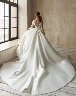 Modern High-Neck Satin Tulle Lace Long Sleeves Wedding Dress with Bow_2