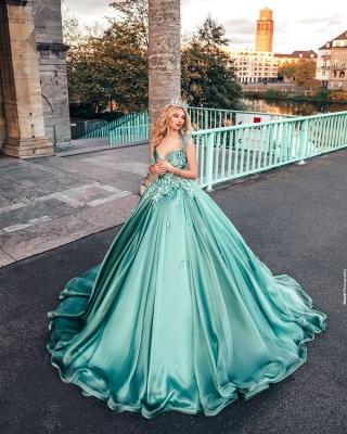 Lighter green evening dresses ball gown Prom dresses long cheap_5