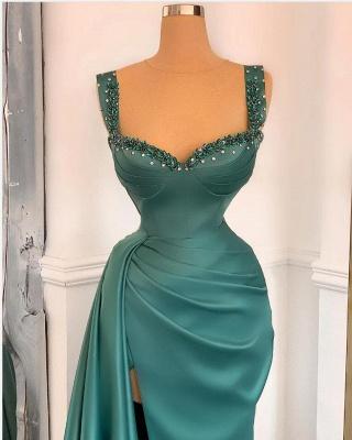 Affordable Green Satin Slit Long Prom Dress_2