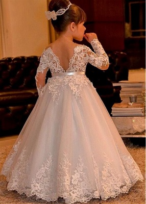 Cute Ball Gown Long Sleeves Lace Flower Girl Dress_2