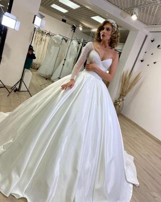 Luxury Princess  One Shoulder Wedding dresses with sleeves_2