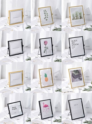Simple Geometric Metal Three-dimensional Glass Photo Frame Golden Wrought Iron Creative Home Decoration Frame