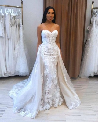 A-Line Sweetheart Tulle Lace Wedding Dress_2