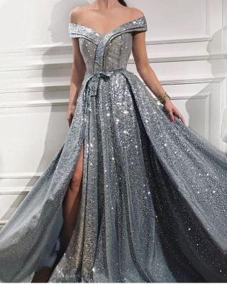 Floor Length Long Off the Shoulder Sequin Prom Dresses Formal Gowns_1