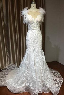 Fur Leather Lace Off Shoulder V-Neck Mermaid Wedding Gowns_2