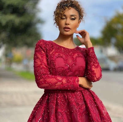 Luxury Jewel Long Sleeves Burgundy Tulle Lace Prom Dress with Beadings_3