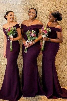 Affordable Mermaid Off-Shoulder Bridesmaid Dress_1