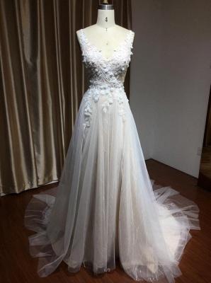 Glamorous V Neck Tulle Lace appliques Wedding Dresses Floor-length_4