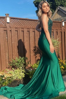 Sexy Mermaid Spaghetti Straps Lace Backless Prom Dress_1