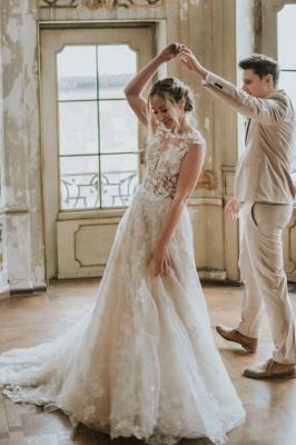 Simple Princess lace Boho wedding dresses cheap_1
