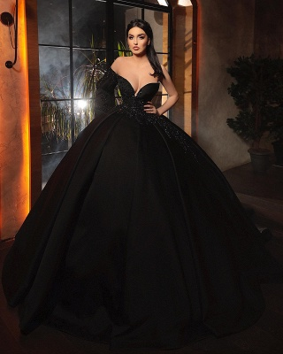 Alluring Ball Gown One-Sleeve Black Taffeta Lace Prom Dress_3