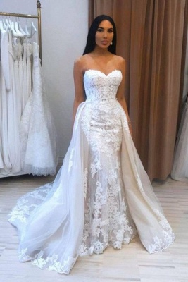 A-Line Sweetheart Tulle Lace Wedding Dress_1