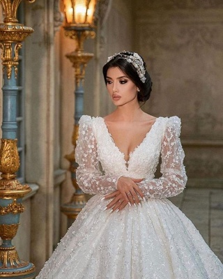 Extravagant Princess wedding dresses glitter lace sleeves_3