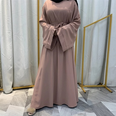 Maxi Dress Abaya Kaftan Women Tie Waist Loose Causul Long Sleeve Muslim Hijab Dress Islam Dubai Turkey Fashion Modset Robe_1