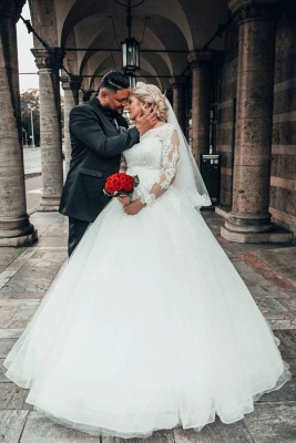 Long Sleeves Jewel Lace Ball Gown Wedding Dresses Online_1