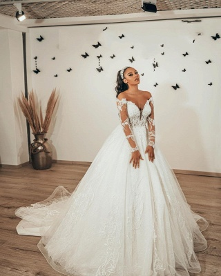 Modern A Line Lace Wedding dresses with sleeves_2