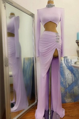 Sexy High Slit Long Sleeves High Neck Prom Dress_1