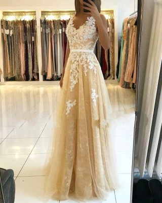 A Line Lace Tulle V Neck Yellow Prom Dresses Sleeveless_1