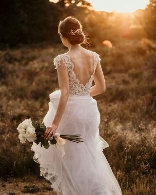 Chic A-Line Chiffon Lace Wedding Dress On Sale_2