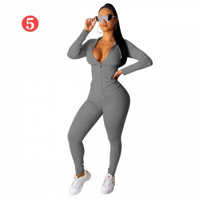 New 2021 Two Pieces Outfits Women Bodycon Solid Hoodie Long Sleeve Jacket & Long Legging Sweatsuit_4
