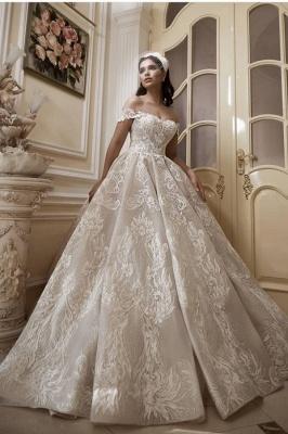 Glamorous Off-Shoulder Tulle Lace Wdding Dress_1
