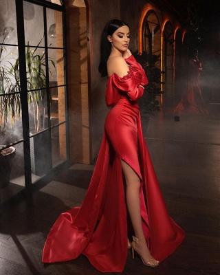 Alluring Off-Shoulder Satin Ruffles Prom Dress with Side Slit_2
