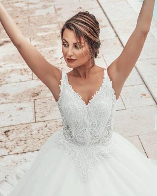 A line Lace Tulle Sleeveless V Neck Wedding dresses_3